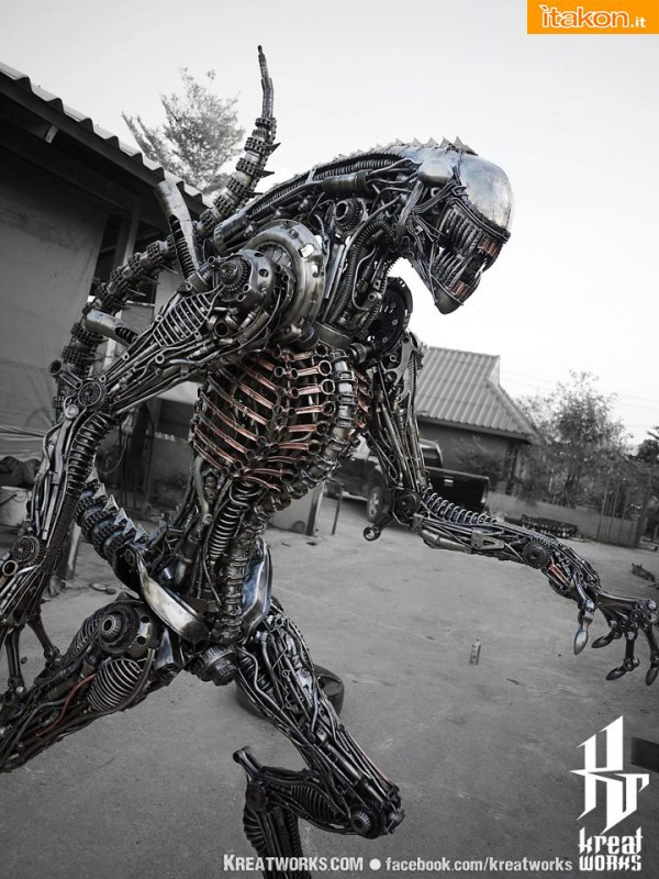 240cm Biomechanical Recycled Metal Alien
