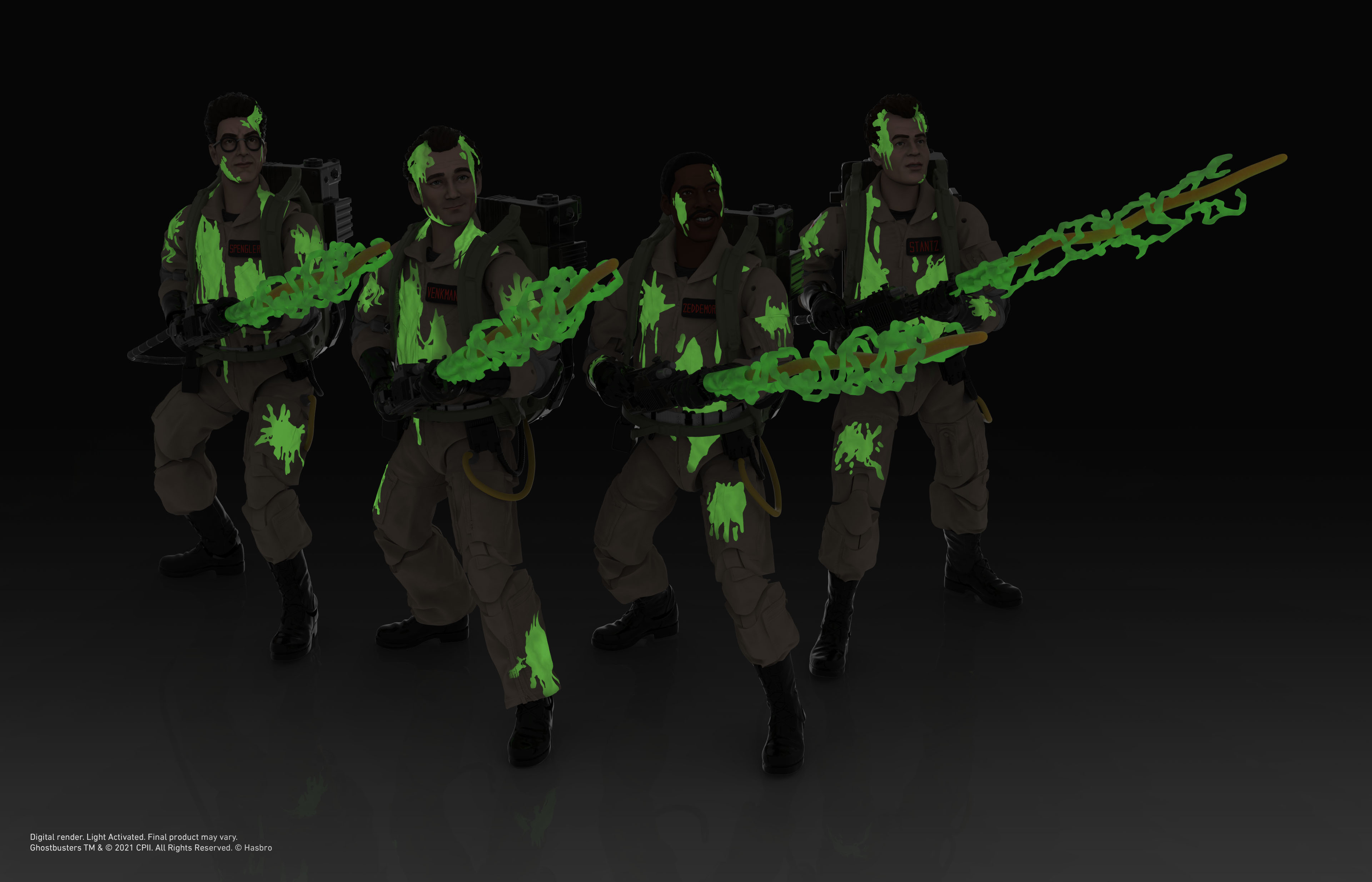 Link a Peter Venkman, Ray Stantz, Egon Spengler, and Winston Zeddemore – ghostbusters day – hasbro – glow in the dark – (3)